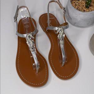 947c1b710 Antonio Melani Jewel Seahorse Silver Thong Sandal